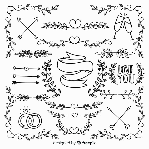 Collection of hand drawn love ornaments Free Vector