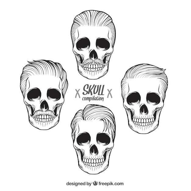 collection of hand drawn male skulls vector free download