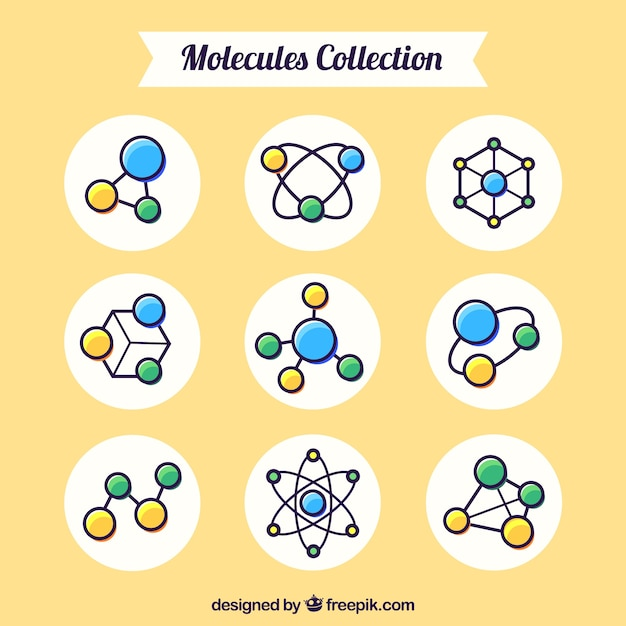 Collection of hand drawn molecule