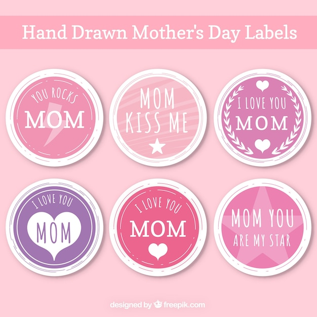 Collection of hand-drawn mother\'s day\ stickers