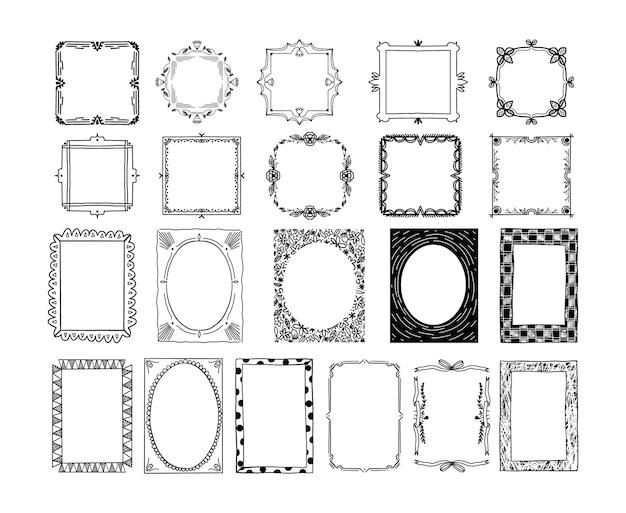 Коллекция рисованной декоративной рамки Premium векторы