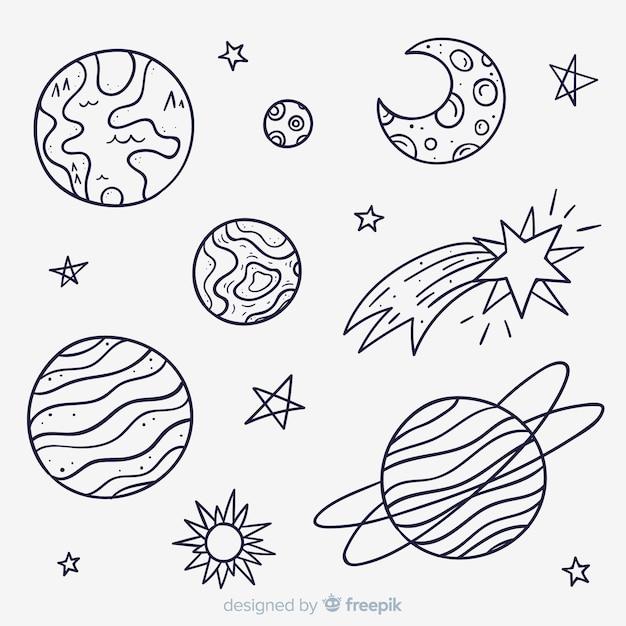 Коллекция рисованной планеты в стиле каракули Бесплатные векторы