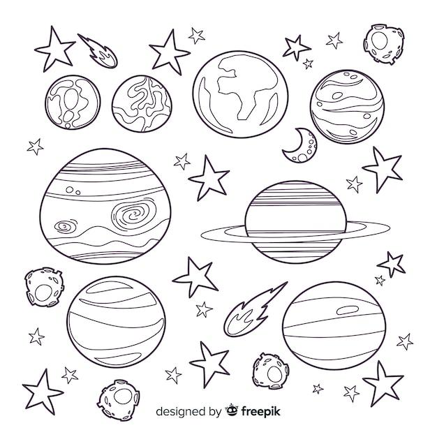 Коллекция рисованной планет Бесплатные векторы