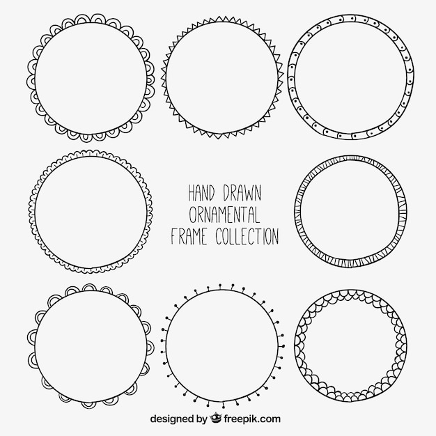 Collection of hand-drawn round frames Vector | Free Download