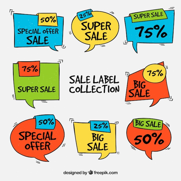 Collection of hand drawn sales sticker