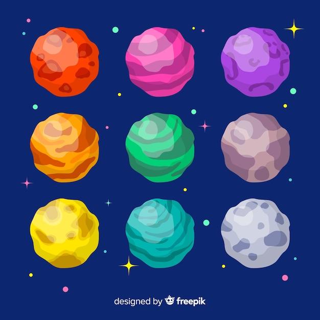 Коллекция рисованной планет солнечной системы Бесплатные векторы