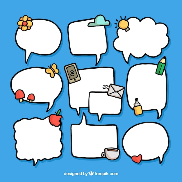 Collection of hand drawn speech bubbles with elements
