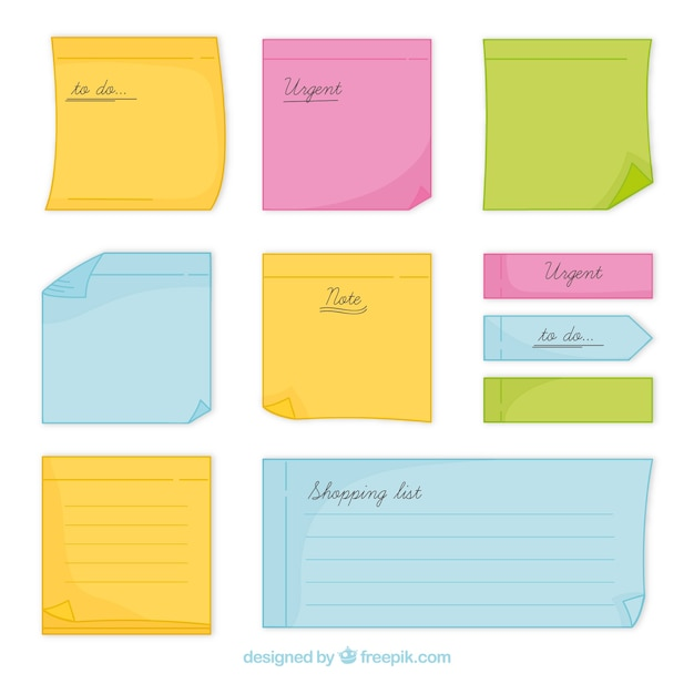 Collection of hand drawn sticky note
