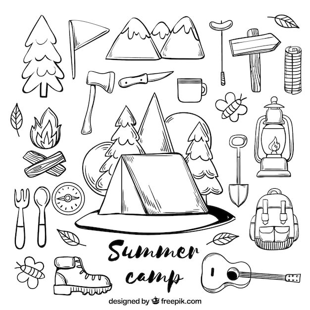 Collection of hand drawn summer camp elements Free Vector