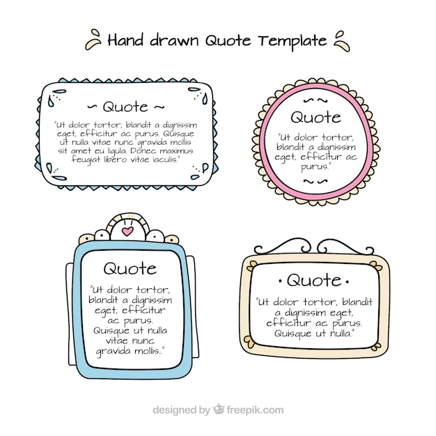 Collection of hand drawn templates for quotes Free Vector