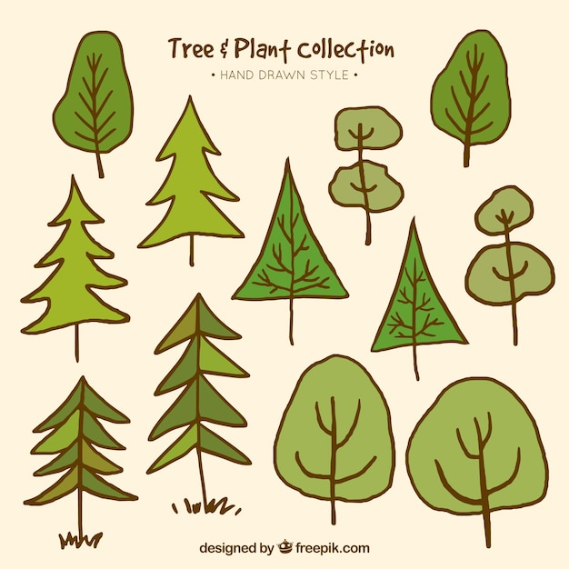 Collection of hand-drawn trees 無料ベクター