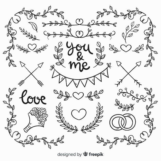 Collection of hand drawn wedding elements Free Vector