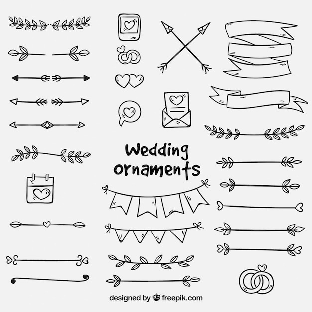 Collection of hand drawn wedding ornaments Free Vector