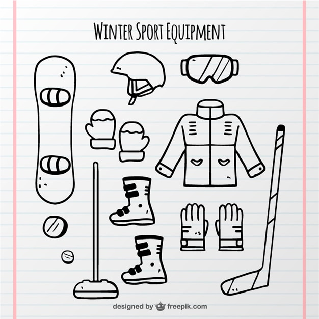 Collection of hand-drawn winter sports\ objects