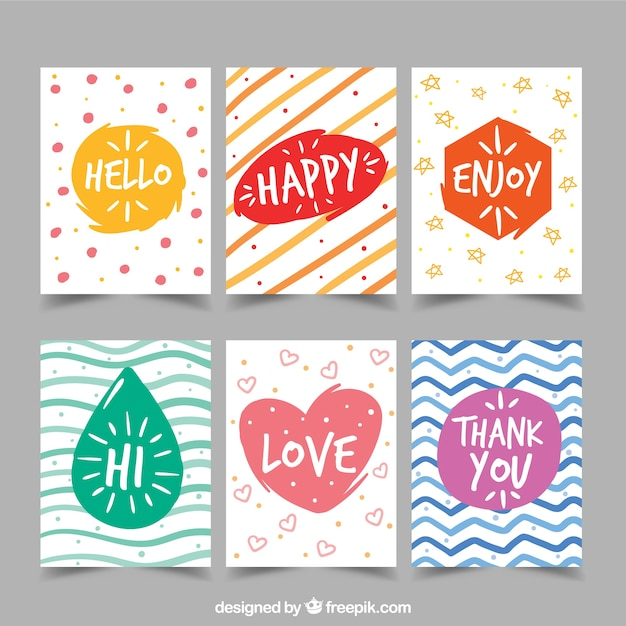 Collection of hand painted colorful abstract greeting card vector collection of hand painted colorful abstract greeting card free vector m4hsunfo