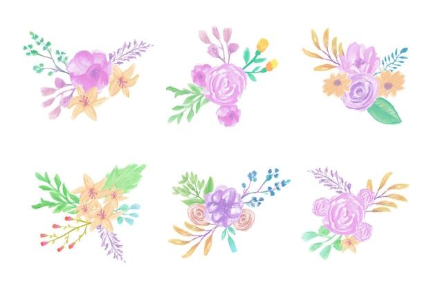 수제 수채화 꽃 예술 손으로 그린 컬렉션 프리미엄 벡터