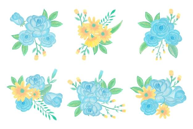 수제 수채화 꽃 예술 꽃다발 손으로 그린 컬렉션 프리미엄 벡터