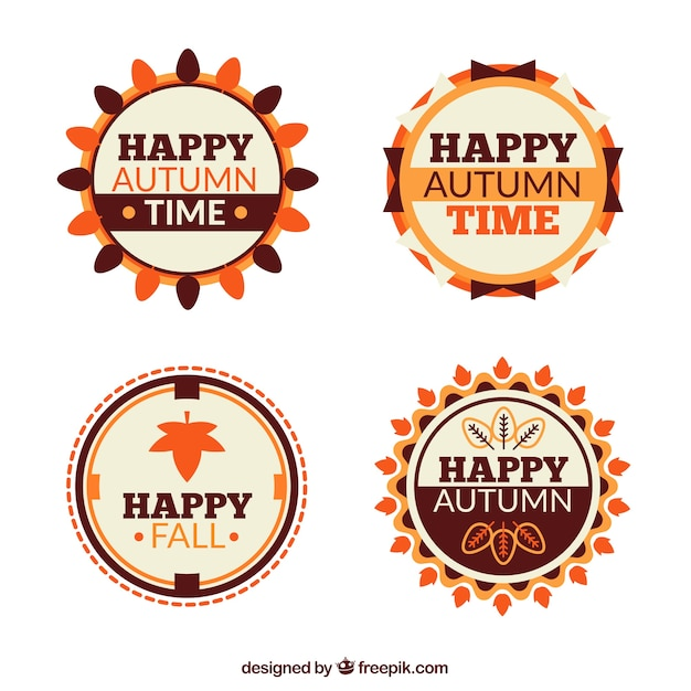 Collection of happy autumn badges