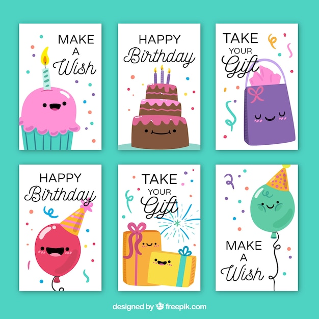Collection Of Happy Birthday Cards With Nice Characters Stock