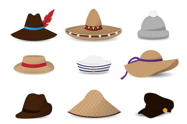 帽子キャップフラットのコレクション Premiumベクター