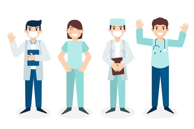 Сборник команды профессионалов здравоохранения Premium векторы