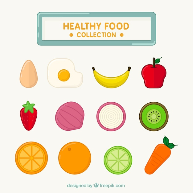 Collection of healthy fruits and vegetables Vector | Free Download