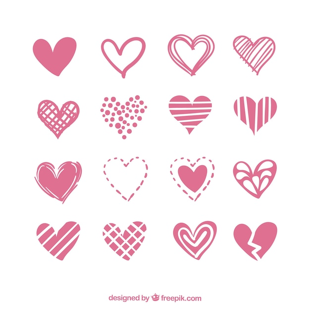 Collection of hearts with variety of designs Free Vector