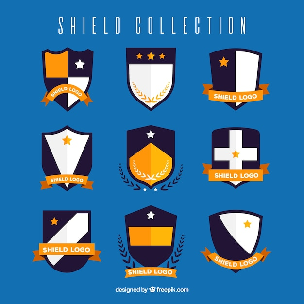 Collection of heraldic shields with golden details Free Vector