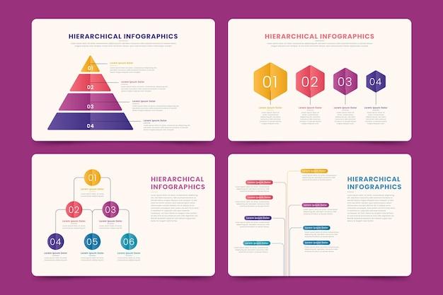 Коллекция иерархической инфографики Бесплатные векторы