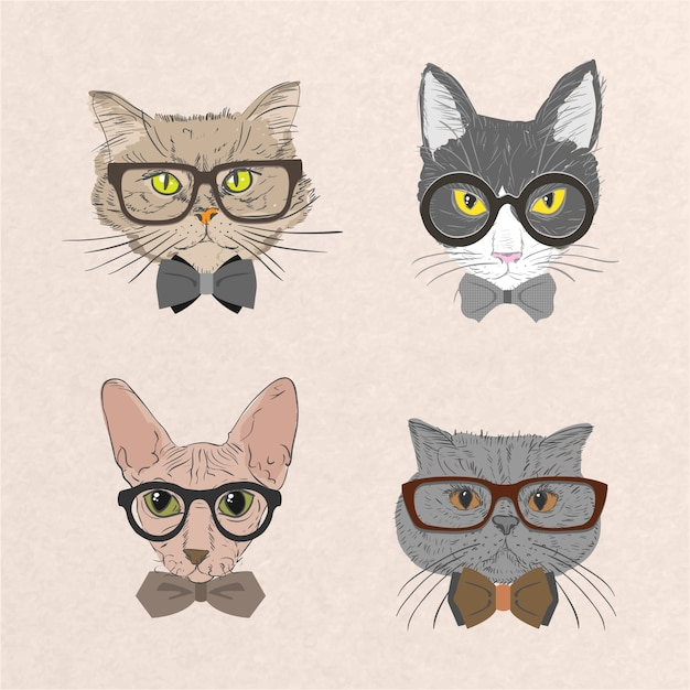 Collection of hipster cats Free Vector