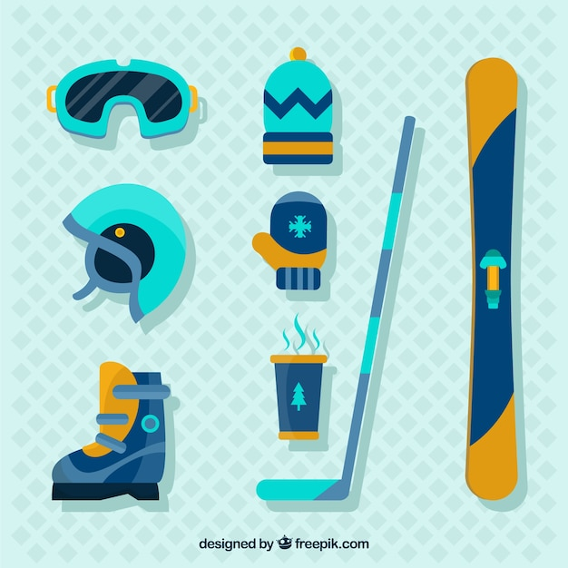 Collection of hockey elements in flat\ design