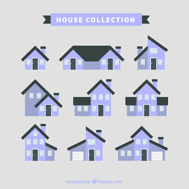 collection of house facades in flat design vector free