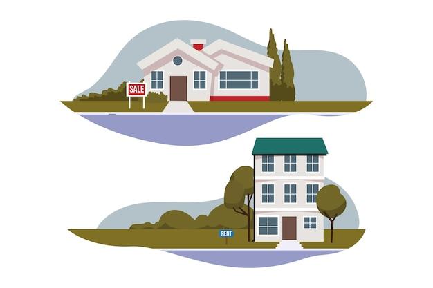 임대 및 판매용 주택 수집 프리미엄 벡터