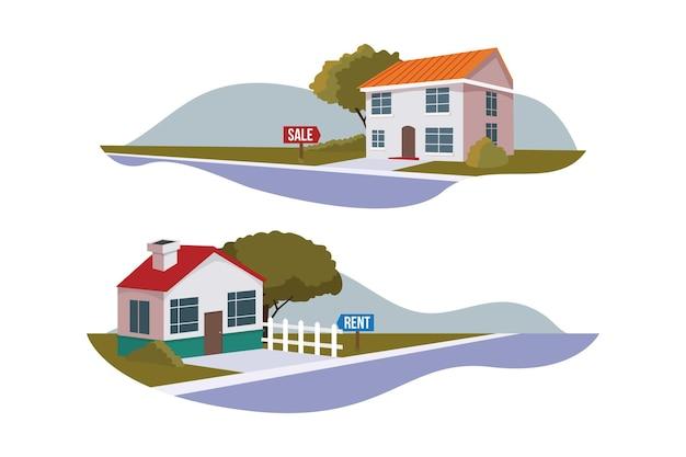 판매 및 임대용 주택 수집 프리미엄 벡터