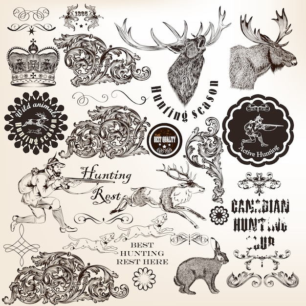 Collection of hunting illustrations and ornaments Premium Vector