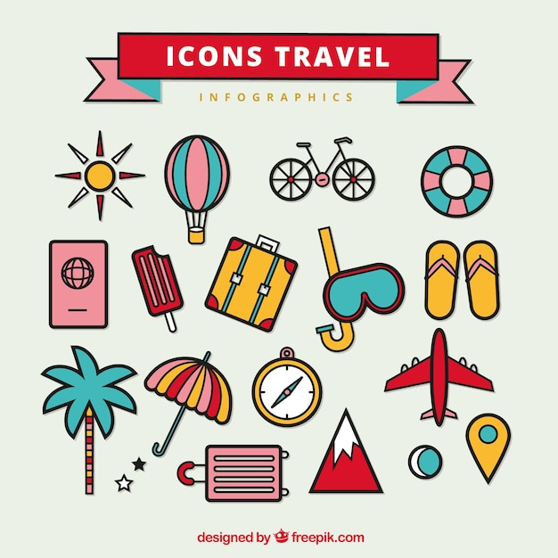 Free Infographic free infographics icons : Collection of icons useful for travel infographics Vector | Free ...