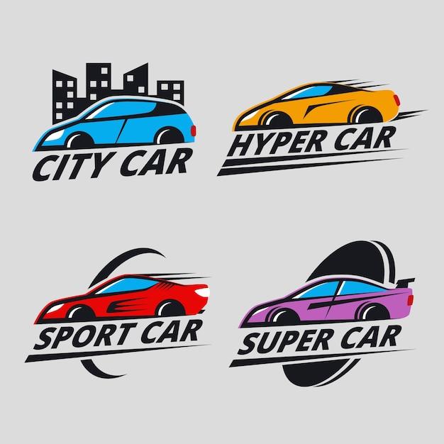 Коллекция иллюстрированных автомобильных логотипов Бесплатные векторы