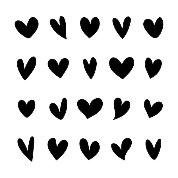 그림 된 심장 아이콘의 컬렉션 무료 벡터