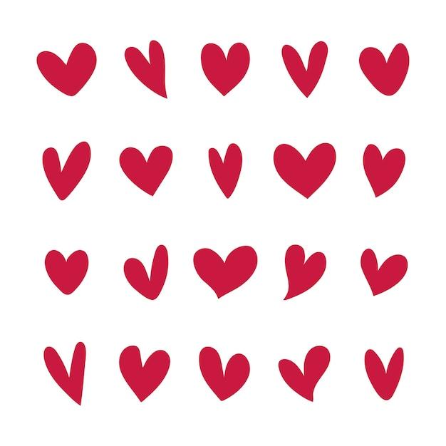 Коллекция иллюстрированных сердечных иконок Бесплатные векторы