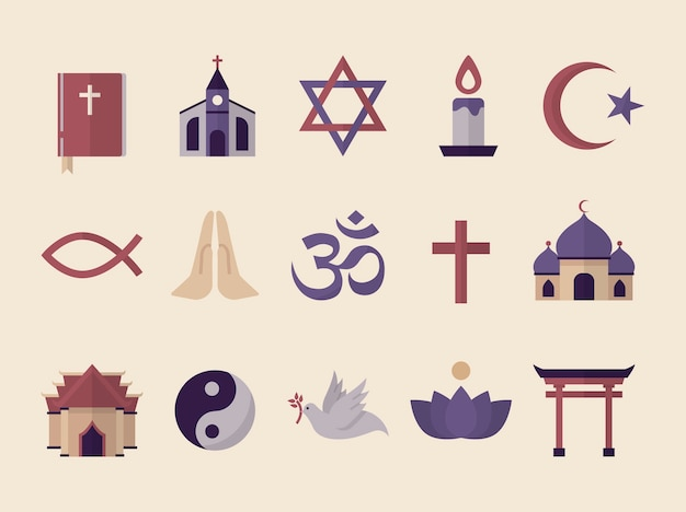 그림 된 종교적 상징의 소장 무료 벡터