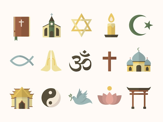 Collection Of Illustrated Religious Symbols Vector Free Download