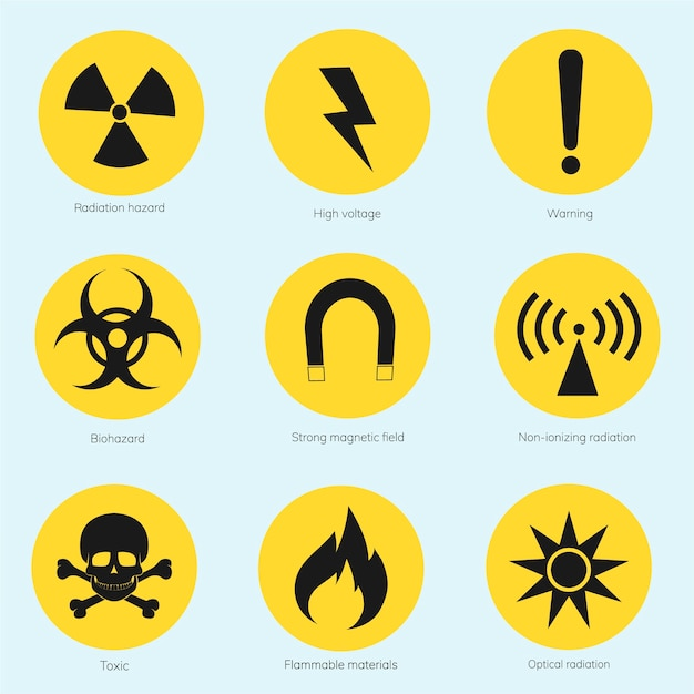 Collection of illustrated warning signs Free Vector