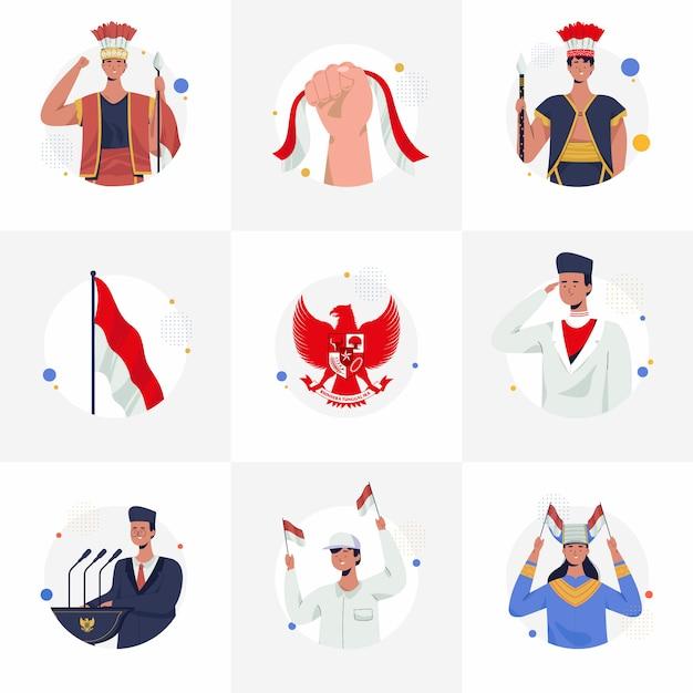 Instafeedのイラスト集インドネシア独立記念日。宣言、パンカシラ、インドネシアの伝統的な服、国の儀式。フラットのベクターイラストです。 Premiumベクター