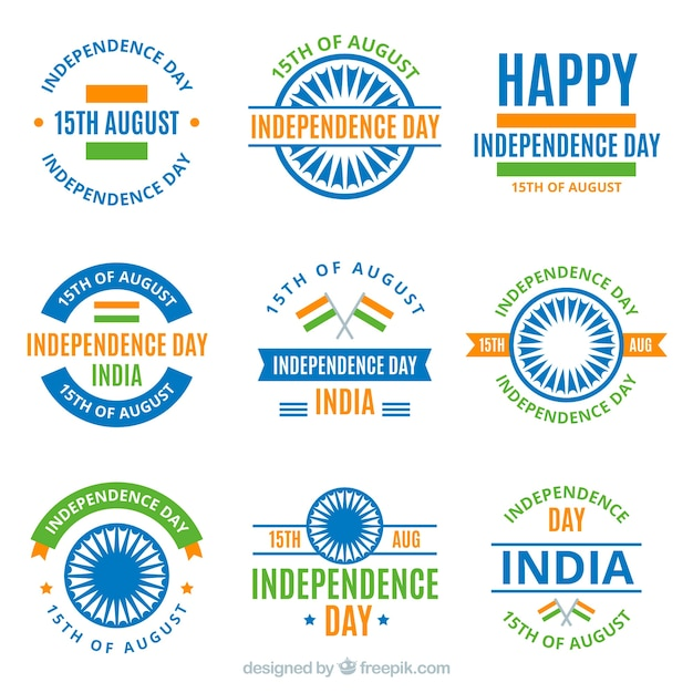 Collection of india independence day badges in flat design