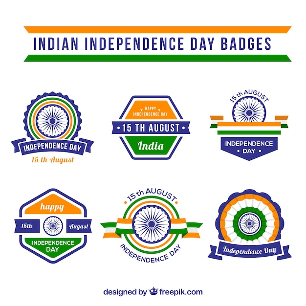 Collection of india independence day decorative badge in flat design
