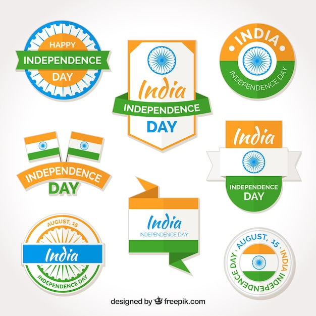 Collection of india independence day stickers and badges free vector