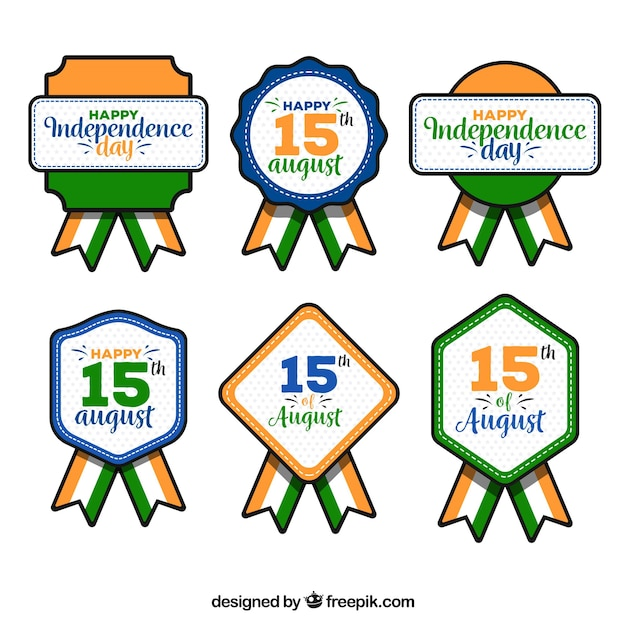Collection of india retro independence day insignia