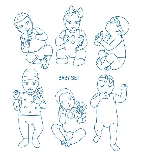 Коллекция младенцев или младенцев, одетых в различную одежду и держащих игрушки и погремушки. набор малышей в разных позах, нарисованных в стиле арт-линии. монохромный векторные иллюстрации. Premium векторы