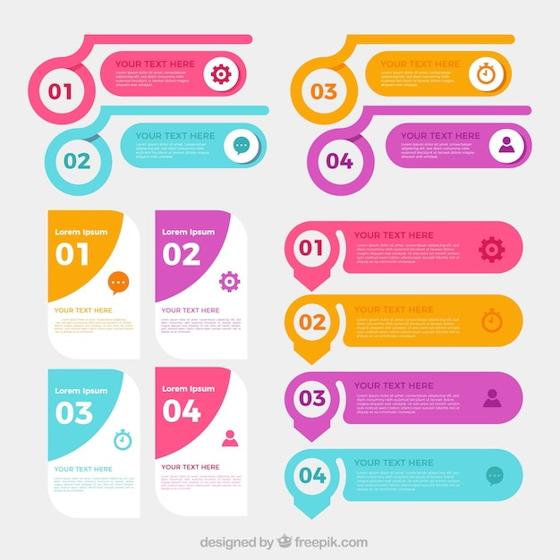 Collection of infographic elements Free Vector