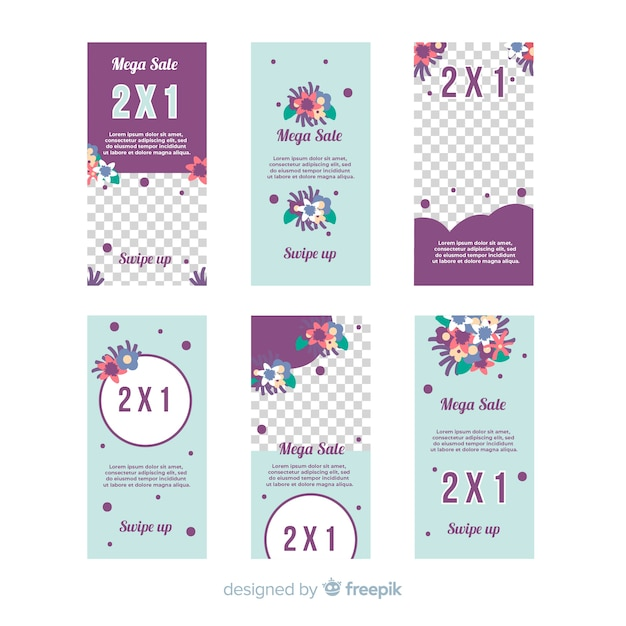 Collection of instagram stories templates Free Vector